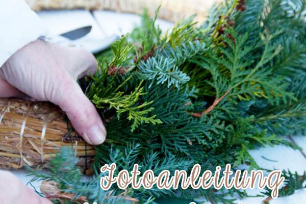 Weihnachten: Fotoanleitung Kränze binden ein DIY von Cozy & Cuddly: Fotoanleitung für das Binden von Weihnachts-Türkränzen und dem Adventskranz zuhause.