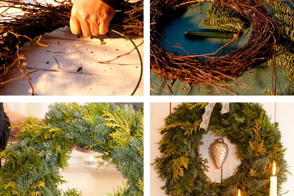 Fotoanleitung fŸür das Binden von Weihnachts-TŸürkräŠnzen und dem Adventskranz zuhause.